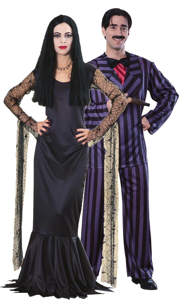 Deguisement Mercredi Addams déguisement couple célèbre : déguisement couple halloween - famille