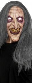 Masque de sorcière halloween avec cheveux
